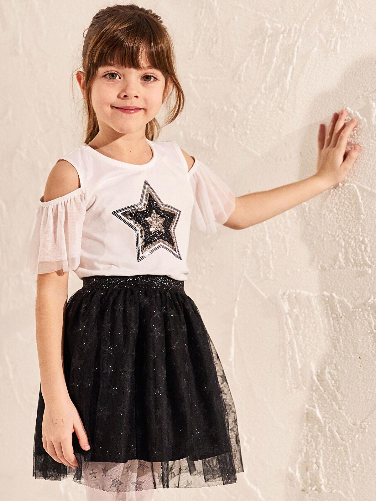 Kız Çocuk Omuzu Açık Tişört - LC WAIKIKI