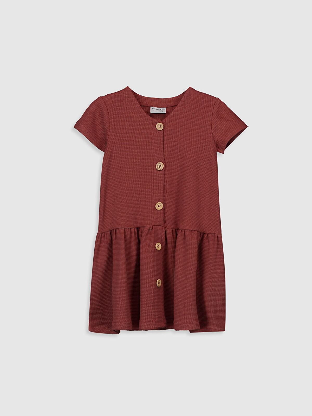 Kız Çocuk Düğme Detaylı Pamuklu Elbise - LC WAIKIKI