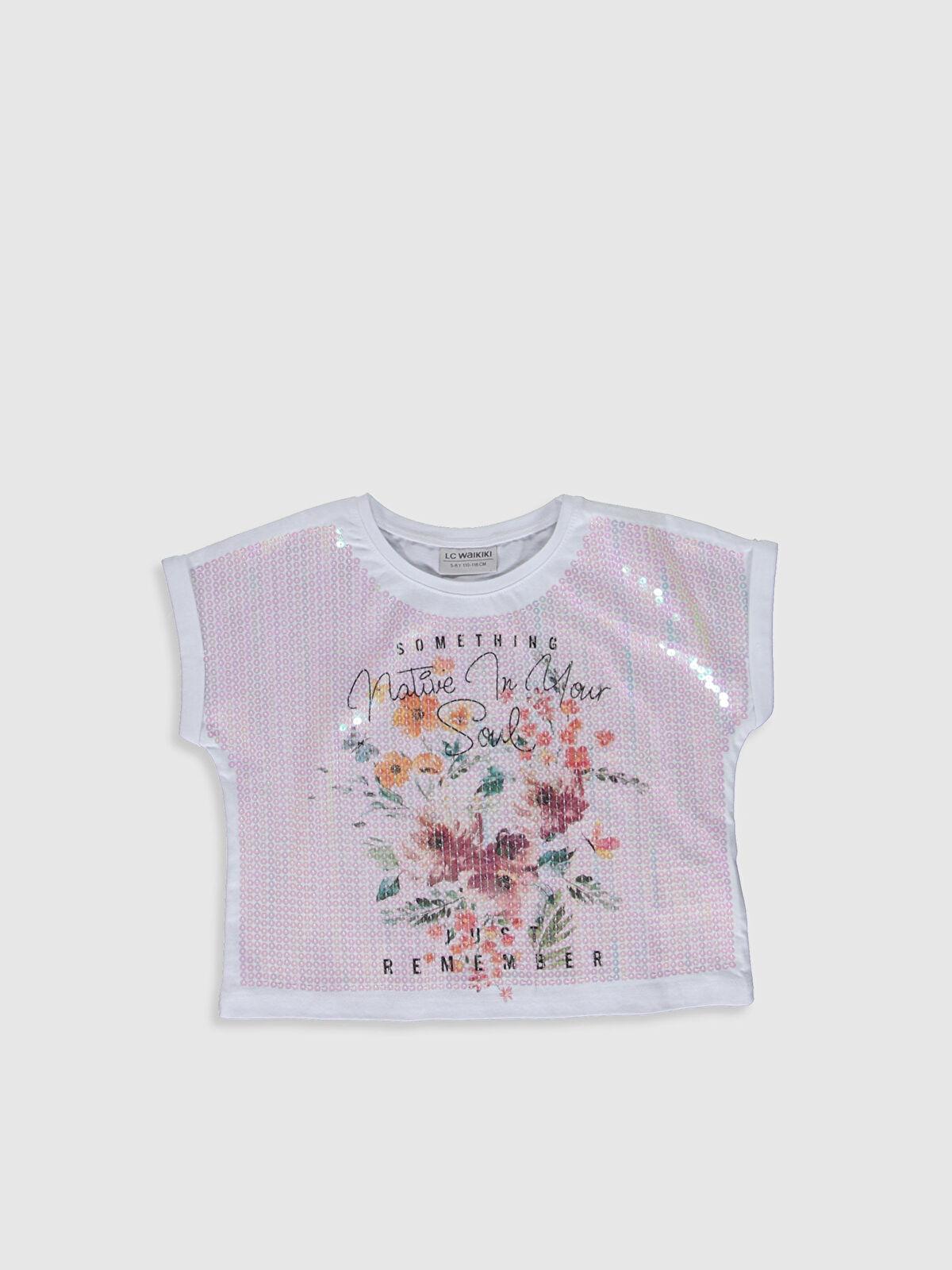 Kız Çocuk Pul İşlemeli Crop Tişört - LC WAIKIKI