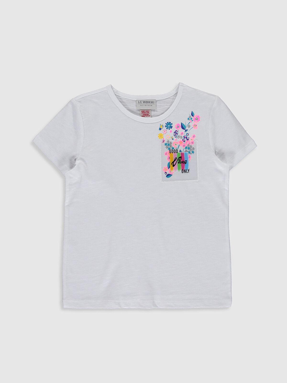 Kız Çocuk Çiçek Baskılı Pamuklu Tişört - LC WAIKIKI