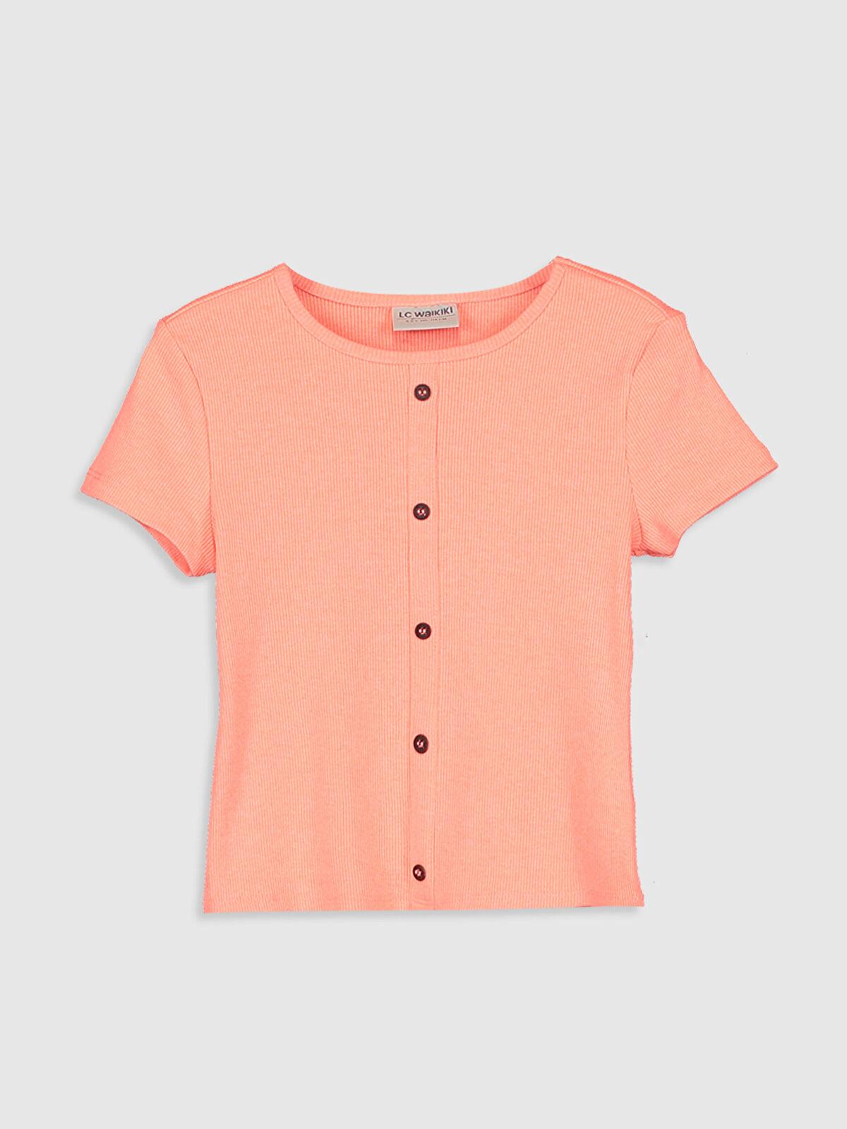 Kız Çocuk Düğme Detaylı Pamuklu Tişört - LC WAIKIKI