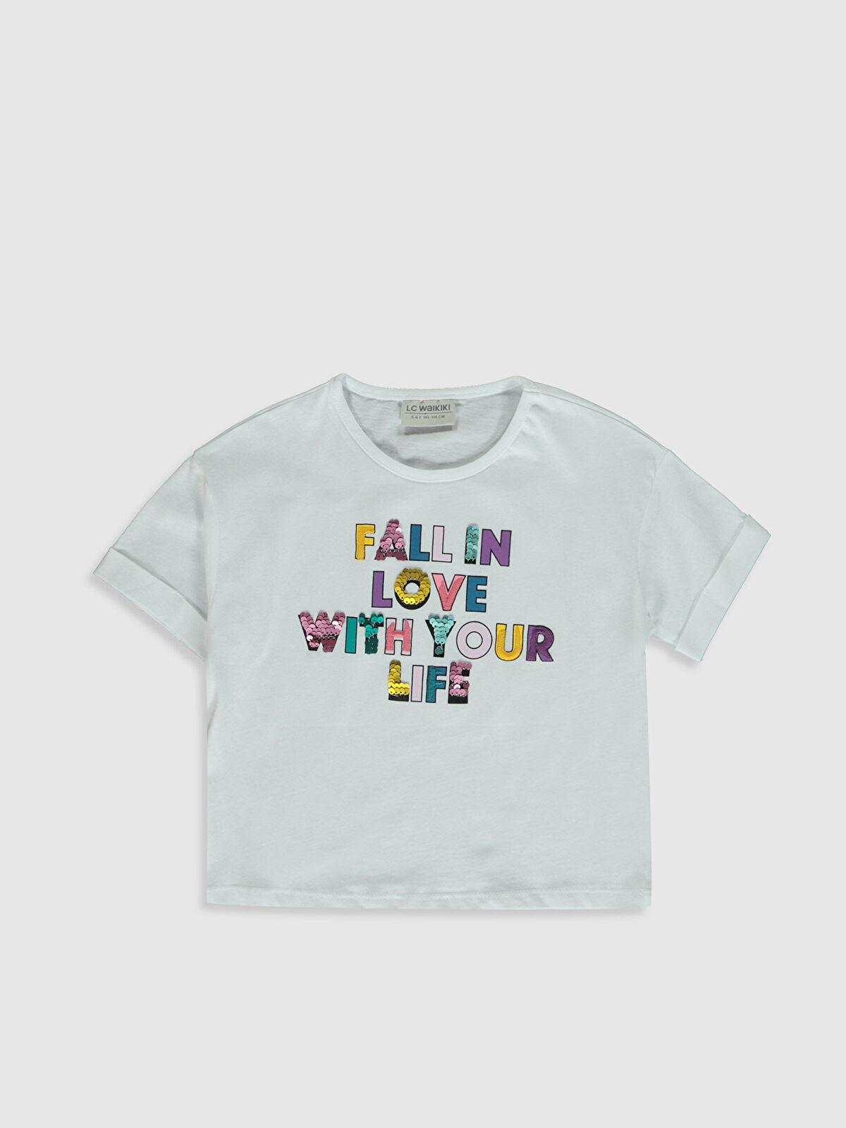 Kız Çocuk Baskılı Pul İşlemeli Pamuklu Tişört - LC WAIKIKI