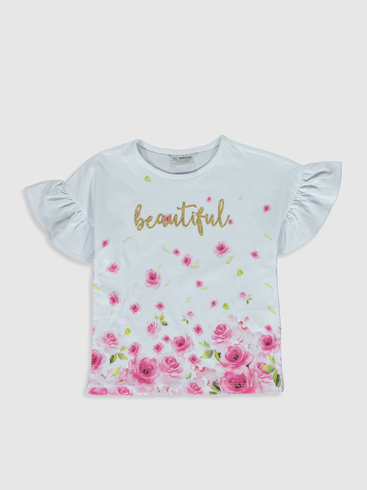 Kız Çocuk Çiçekli Pamuklu Tişört - LC WAIKIKI