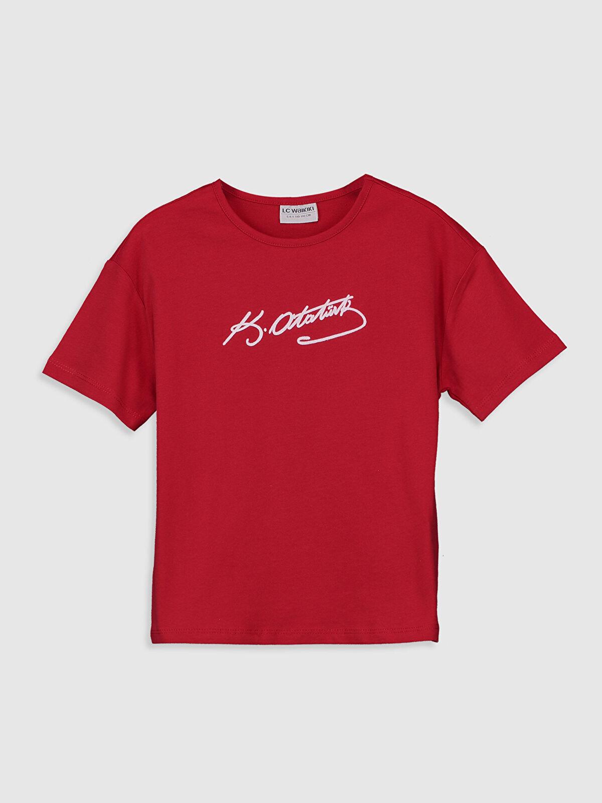 Kız Çocuk Atatürk İmzalı Pamuklu Tişört - LC WAIKIKI