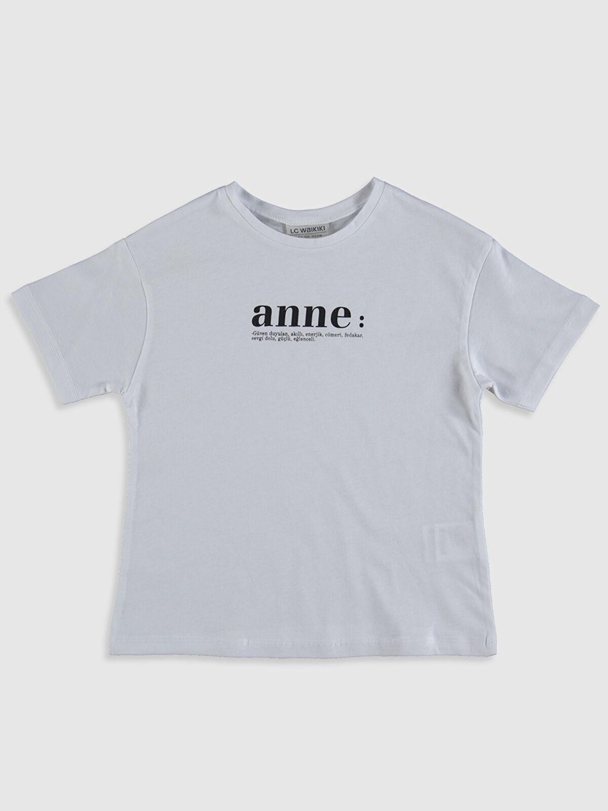 Aile Koleksiyonu Kız Çocuk Yazı Baskılı Pamuklu Tişört - LC WAIKIKI
