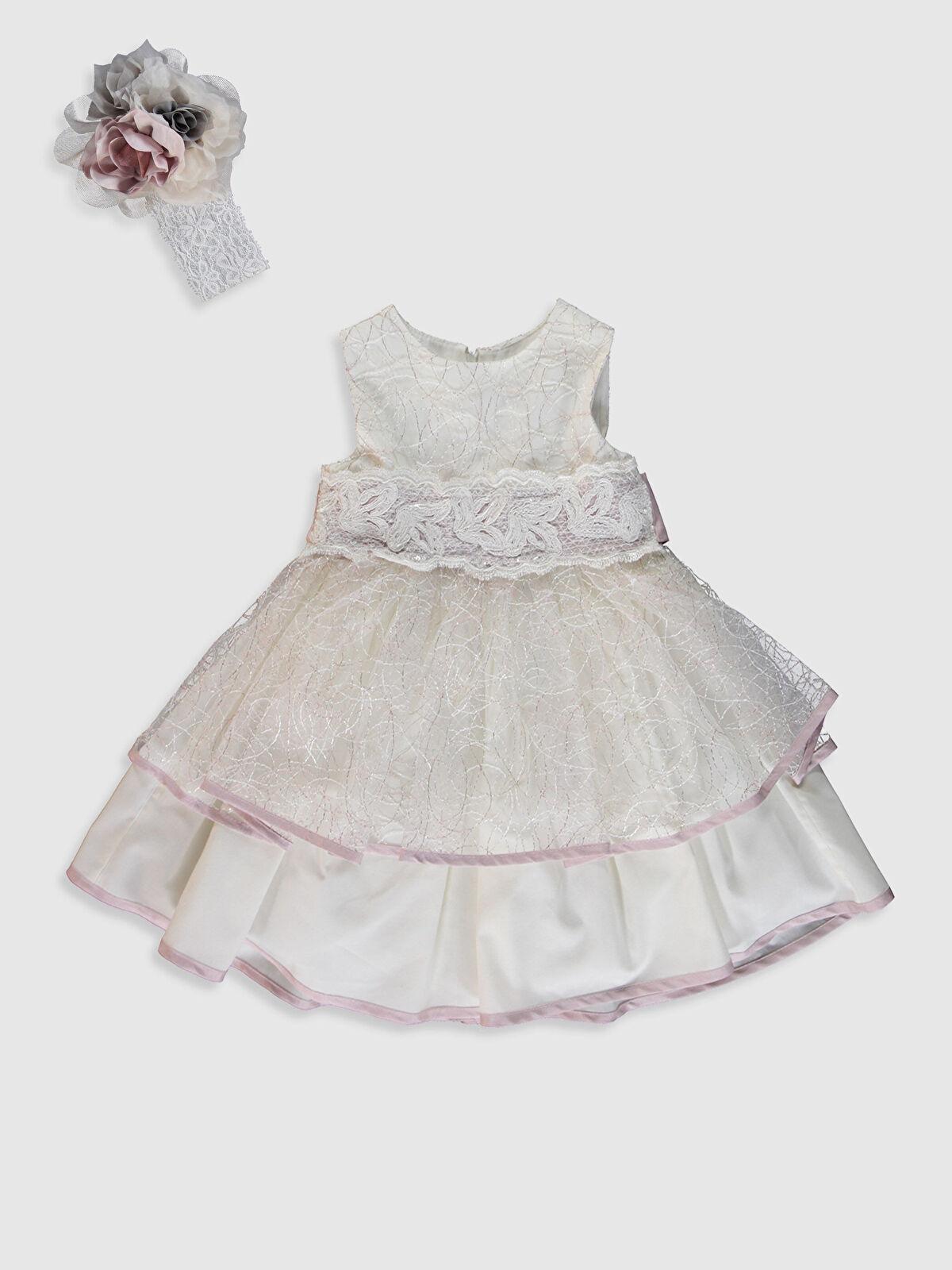 Kız Bebek Desenli Abiye Elbise ve Saç Bandı - LC WAIKIKI