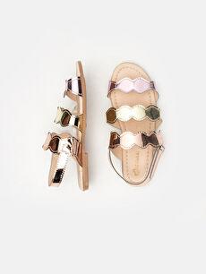 %0 Diğer malzeme (poliüretan) Sandalet Kısa PU Astar Kısa(0-2cm) Cırt Cırt Kız Çocuk Parlak Bantlı Sandalet