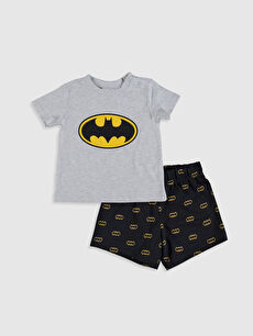 Erkek Bebek Batman Baskılı Pijama Takımı