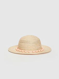 Kız Çocuk Ponpon Detaylı Hasır Fötr Şapka