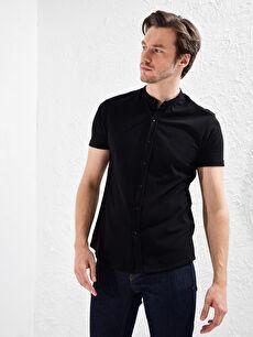 Slim Fit Kısa Kollu Basic Gömlek