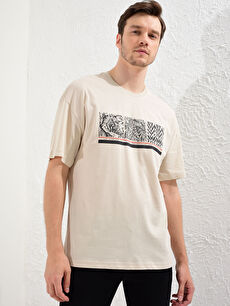 Bisiklet Yaka Baskılı Oversize Tişört