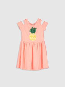 Pembe Kız Çocuk Baskılı Omuzu Açık Elbise 0SO597Z4 LC Waikiki