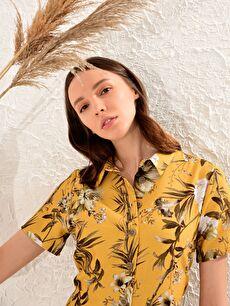%13 Poliamid %87 Viskoz Ofis/Klasik Standart Baskılı Astarsız Kısa Kol Gömlek Elbise Elbise Keten Görünümlü Kısa Desenli Gömlek Elbise