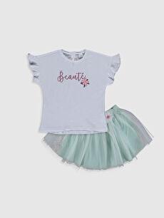 Kız Bebek Baskılı Tişört ve Etek
