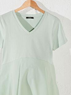 %100 Pamuk Düz Basen Altı A Kesim Süprem Tişört Günlük Orta Kalınlık V Yaka Kısa Kol Volanlı Pamuklu Hamile Tişört