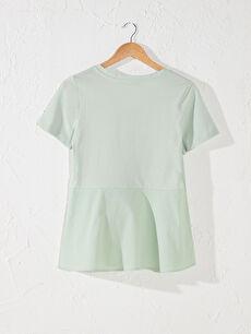 Kadın Volanlı Pamuklu Hamile Tişört