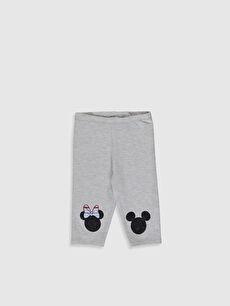 Kız Bebek Minnie Mouse Baskılı 3/4 Boy Tayt