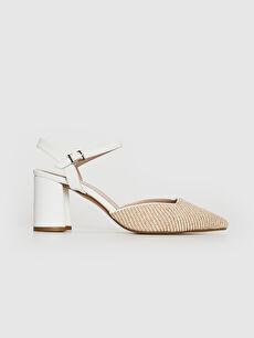 Bej Kadın Hasır Detay Topuklu Ayakkabı 0SS256Z8 LC Waikiki