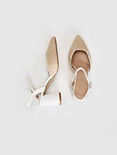 Sivri Burun Bağcıksız Düz Standart Klasik Ayakkabı 4 cm Kadın Hasır Detay Topuklu Ayakkabı