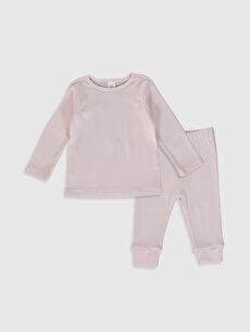 Kız Bebek Çizgili Pamuklu Pijama Takımı