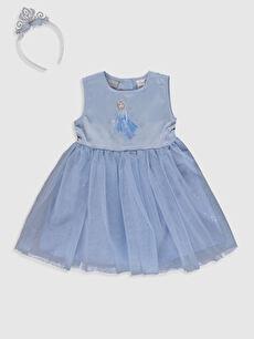 Kız Bebek Elsa Baskılı Elbise ve Taç