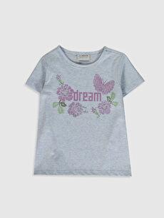 Kız Çocuk Desenli Pamuklu Tişört