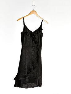Askılı Fırfır Detaylı Elbise