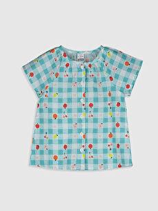 Kız Bebek Baskılı Pamuklu Gömlek