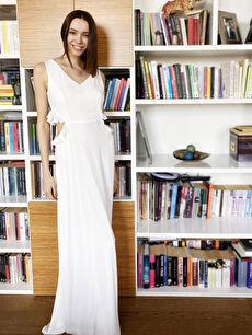 Appleline Fırfırlı Bel Detaylı Şifon Abiye Elbise