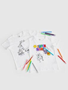 Erkek Bebek Baskılı Boyanabilir Tişört Ve Boya Kalemi