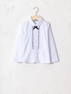 Kız Çocuk Fırfır Detaylı Poplin Gömlek