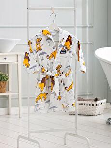 Sarı Erkek Çocuk Lion King Lisanslı Kapüşonlu Bornoz 9WT504Z4 LC Waikiki