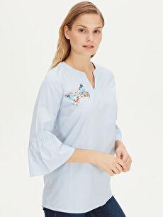 Mavi Yakası Pul İşlemeli Çizgili Bluz 8S2145Z8 LC Waikiki