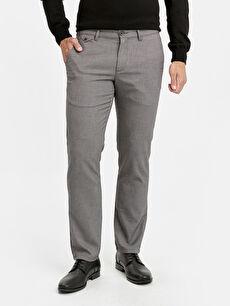%66 Polyester %2 Elastan %32 Viskon Normal Bel Normal Pilesiz Pantolon Standart Kalıp Armürlü Pantolon