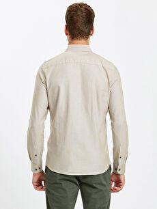 %100 Pamuk Dar Düz Uzun Kol Gömlek Düğmeli Slim Fit Uzun Kollu Oxford Gömlek