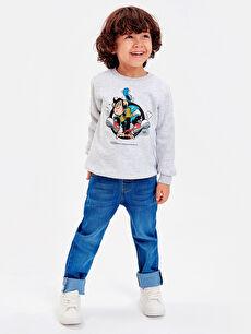 %43 Pamuk %57 Polyester Aile Koleksiyonu Erkek Çocuk Nostaljik Maymun Baskılı Sweatshirt