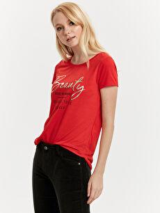 Kırmızı Yazı Baskılı Tişört 8WJ372Z8 LC Waikiki
