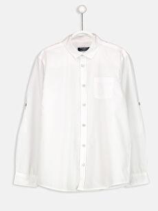 Beyaz Uzun Kollu Poplin Gömlek 8W0506Z4 LC Waikiki