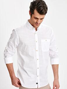 Beyaz Regular Fit Uzun Kollu Poplin Gömlek 9S0940Z8 LC Waikiki