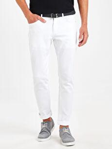 %97 Pamuk %3 Elastan %100 Poliüretan Normal Bel Dar Pilesiz Pantolon Slim Fit Dokulu Pantolon
