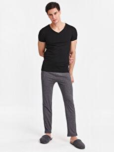 %96 Pamuk %4 Polyester Dar İç Giyim Üst V Yaka Kısa Kollu Pamuklu Fanila