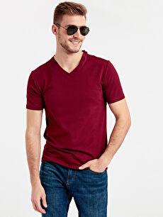 V Yaka Kısa Kollu Pamuklu Tişört