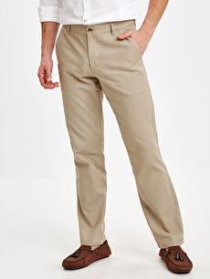 %45 Pamuk %55 Keten Chino Pantolon Standart Normal Kalıp Keten Chino Pantolon