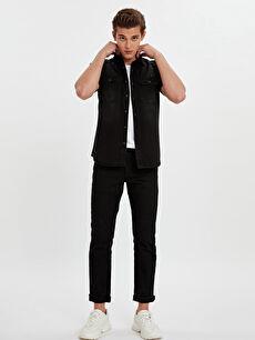 Erkek Slim Fit Kısa Kollu Jean Gömlek