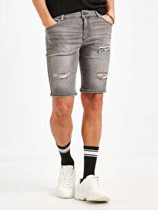 %99 Pamuk %1 Elastan Jean Şort Skinny Super Skinny Bermuda Jean Şort