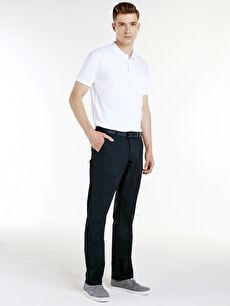 %98 Pamuk %2 Elastan Normal Bel Normal Pilesiz Pantolon Standart Kalıp Gabardin Pantolon