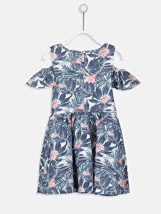 %100 Pamuk Mini Baskılı Kız Çocuk Omuzu Açık Pamuklu Elbise