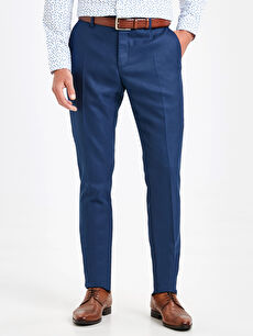 %65 Polyester %3 Elastan %32 Viskon Normal Bel Dar Pantolon Pileli Slim Fit Armürlü Pantolon