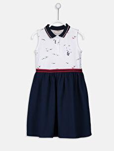 Lacivert Kız Çocuk Baskılı Pamuklu Elbise 9SK111Z4 LC Waikiki