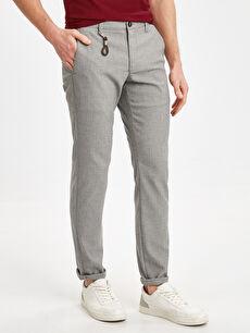 %63 Polyester %2 Elastan %35 Viskoz Düz Gabardin Zincir Normal Bel Dar Pantolon Slim Fit Poliviskon Pantolon